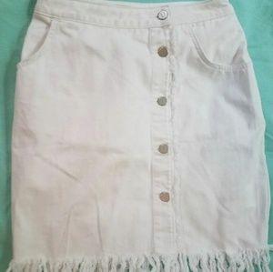 Pilcro and The Letterpress Denim Fringe Skirt